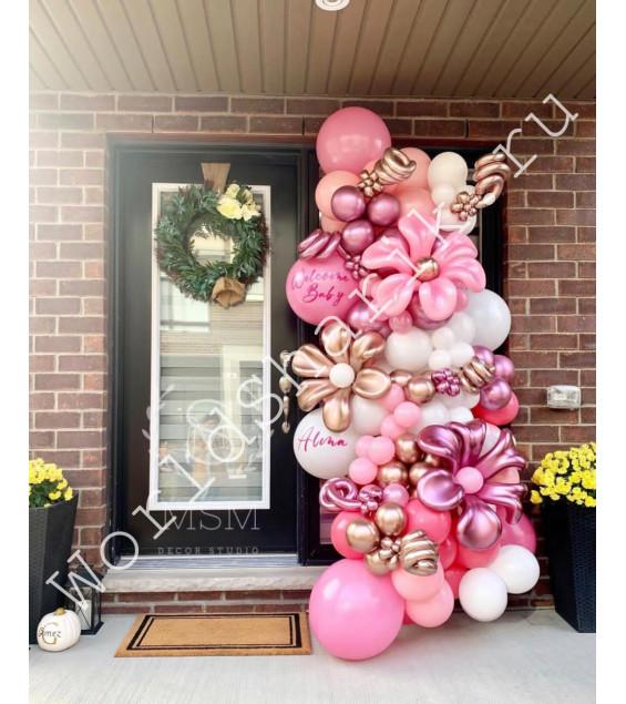 Гирлянда из шаров на вход (с цветами)