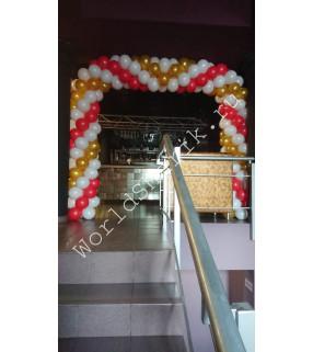 Арка из шаров (красный, белый, золотой)
