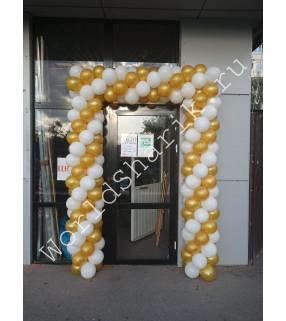 Украшение шарами на открытие (белый и золото)