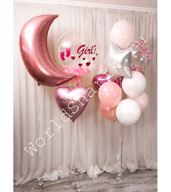 Украшение комнаты шарами на выписку из роддома