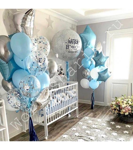 Оформление шарами на выписку с огромным шаром и фонтанами