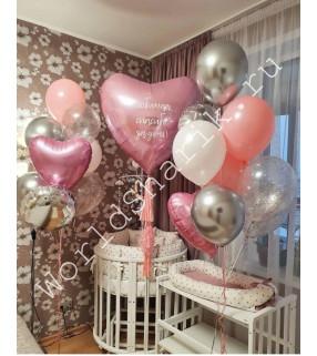 Набор шаров на выписку девочки: большое сердце с надписью и два фонтана