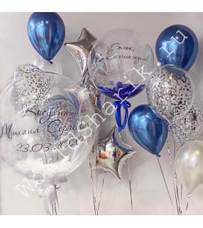 Композиция шаров на выписку из роддома: два больших шара и три фонтана