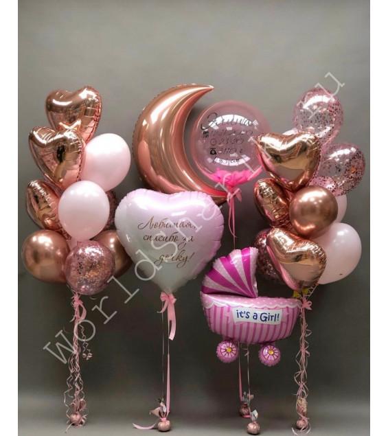 Воздушные шары на выписку девочки