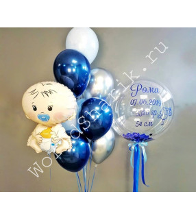 Надувные шары на выписку из роддома: большой шар, пупс и фонтан