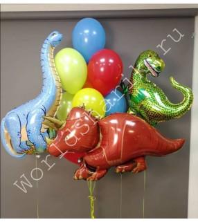 Шары динозавры зеленый, оранжевый и синий