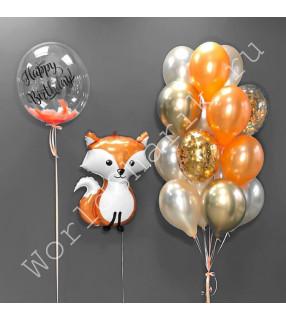 Композиция с воздушным шаром в виде лисы