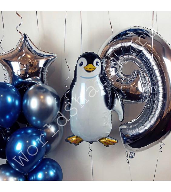 Композиция с фольгированным шаром Пингвином