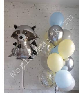Воздушный шарик енот и фонтан