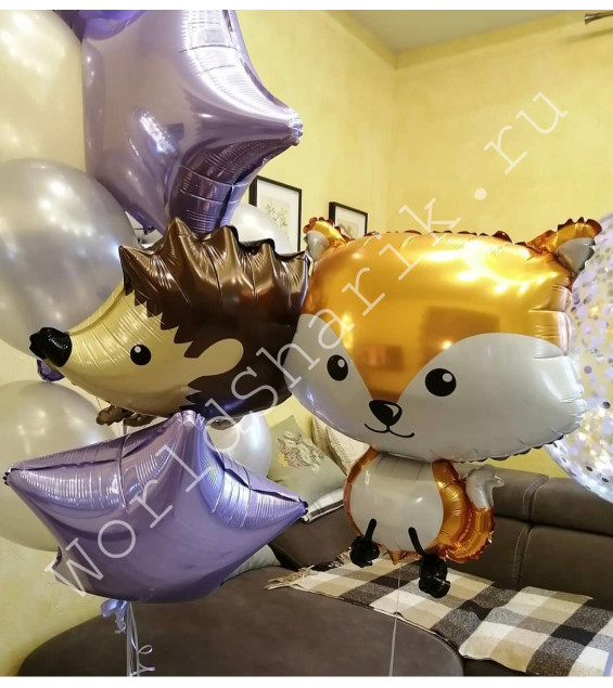 Воздушные шары в виде животных Ежик и Лиса