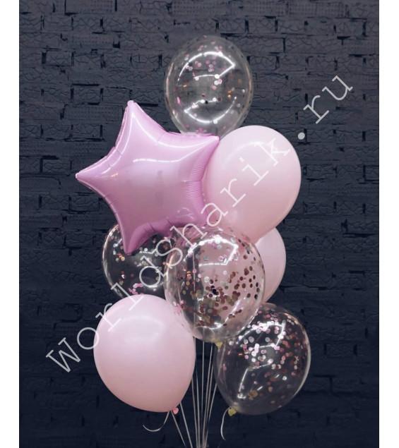 Букет воздушных шаров (розовый) со звездой