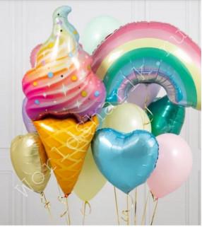 Шар мороженое и радуга в композиции шаров