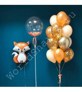 Воздушный шар лиса, баблс и фонтан
