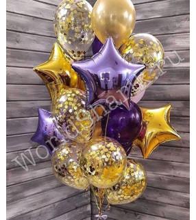 Композиция из шаров: фонтан в золотых тонах