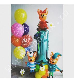 """Три кота воздушные шары """"На годик"""""""