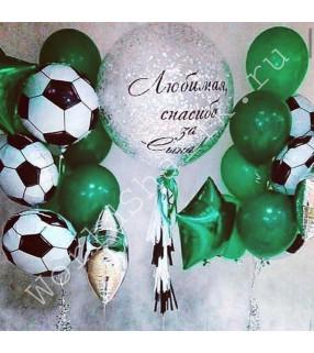 Фонтаны из шаров с мячами и шар с надписью