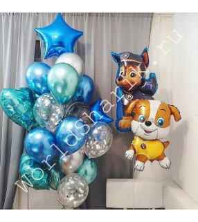 """Воздушные шары """"Щенячий патруль"""" (Крепыш, Гонщик и фонтан)"""