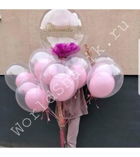 Композиция шаров Баблс (с большим шаром с перьями и надписью)