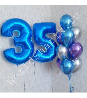 Композиция из шаров на 35 лет: цифры и фонтан