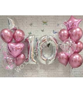 Композиция из шаров на 10 лет: цифры и два фонтана (розовый и серебро)