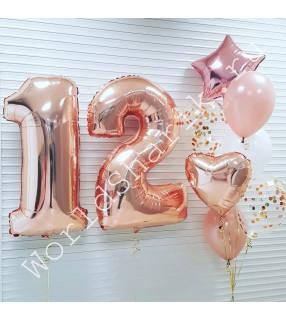 Композиция из шаров на 12 лет девочке (розовое золото)