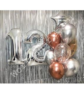 Композиция из шаров на 12 лет: цифры и фонтан со звездой с надписью