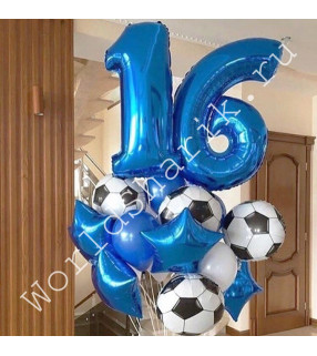 Композиция из шаров на 16 лет мальчику с мячами