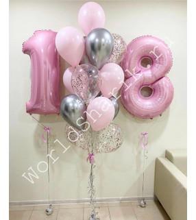 Воздушные шары на 18 лет девушке (розовые и серебро)