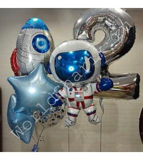 Шары фольгированные космонавт и ракета на 2 года