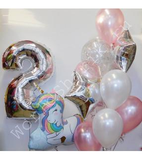 Воздушные шары с единорогом на два года