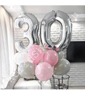 Композиция из шаров на 30 лет девушке (цифры и облако шаров)