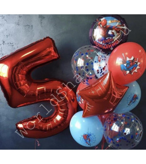 Воздушные шары человек паук с цифрой 5