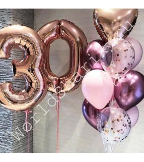 Композиция из шаров на 30 лет (цифры и фонтан)