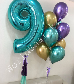 Композиция из шаров на 9 лет: цифра и шарики хром