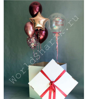 Коробка-сюрприз с шарами (баблс с надписью и фонтан)
