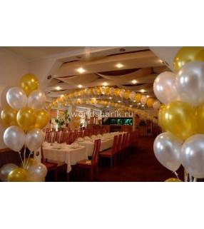 Оформления ресторана шариками (цвет белый, золотой)