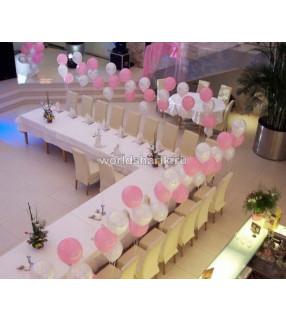 Оформления ресторана шариками (цвет белый, розовый)