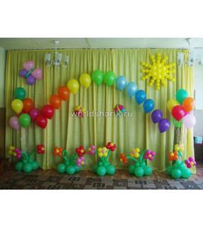 Оформление детского садика шариками (цвет красный, зеленый, желтый, розовый)