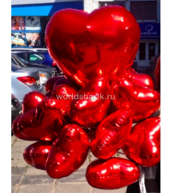 10 шаров сердец + большое сердце (фольга)