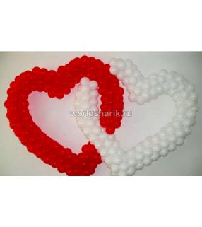 Двойное плетеное сердце из шаров (цвет красный белый)
