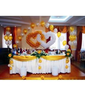 Оформления шарами свадебного стола