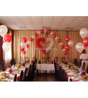 Оформления шарами свадебного стола, цвет красный белый