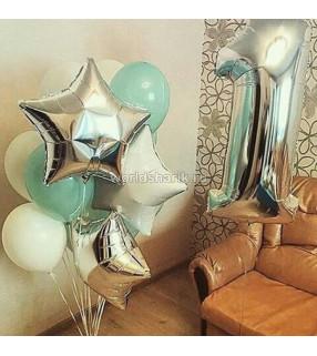 Пример оформления шарами, цвет серебристый белый, на 1 годик ребенка