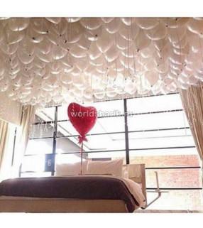 100 шаров под потолок + сердце фольгированные