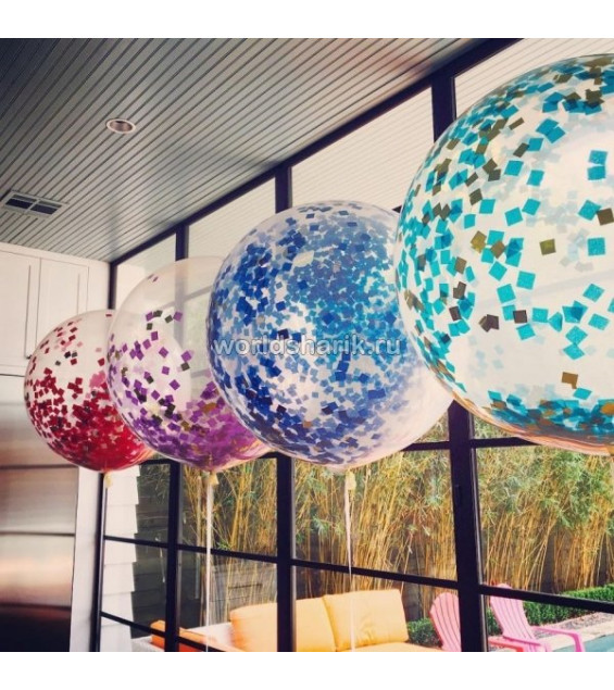 Гелиевый шар с конфетти 60см
