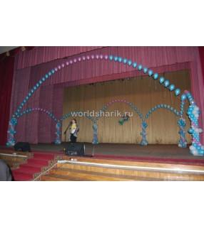 Оформление школы шариками (цвет розовый, голубой)
