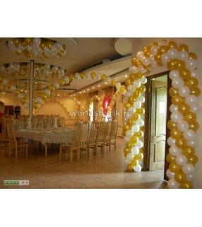 Оформления ресторана шариками (цвет золотой, белый)