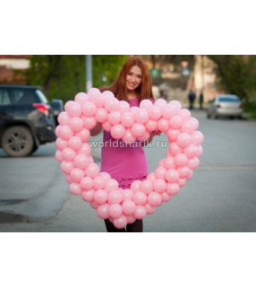 Сердце из шаров плетеное(цвет розовый)