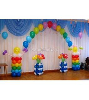 Оформление детского садика шариками (цвета: красный, синий, желтый, зеленый)